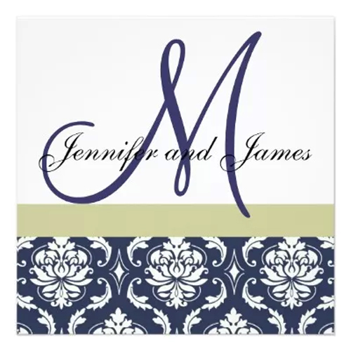Blue Monogram Wedding Invitation