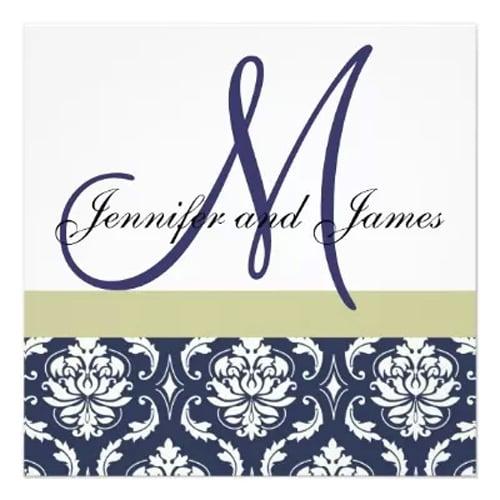 Blue Monogram Wedding Invitation
