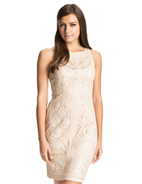 Short illusion dress with lace overlay