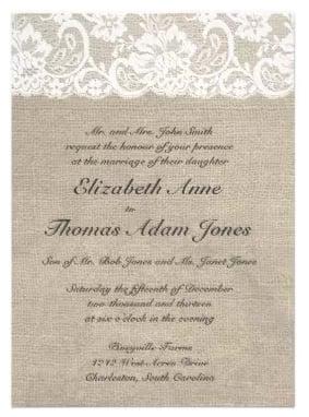 Rustic Burlap Lace Wedding Invitation
