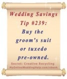 Wedding Budget Savings Tip #239: Buy the Groom's Suit or Tux Pre-Owned