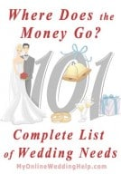 Where does the money go? Complete list of wedding needs 1