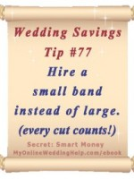 Wedding Budget Saving Tip: If your heart is set on a band, go for a smaller rather than large to save money. | From Dream Wedding on a Dime ebook at http://MyOnlineWeddingHelp.com/ebook