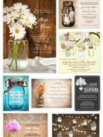Ten different styles / ideas for mason jar wedding invitations. The page has links to examples and a whole bunch of other mason jar designs.
