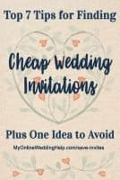 Tips for finding cheap, simple wedding cards. And one idea to avoid. Seven ideas for DIY wedding invitations and custom designs. #WeddingInvitations #DIYWedding #CheapWeddingInvitations