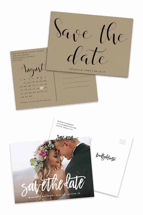 Save the date postcards are simple wedding cards to inexpensively announce your engagement. There are links in the article to buy the rustic calendar style on top and the custom picture save the date card on bottom. #savethedatecards #simpleweddinginvites #savethedates #cheapweddinginvitations