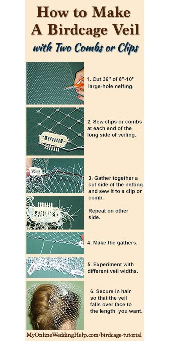 How to Make a Birdcage Veil with Two Combs or Clips - My ...  How to Make a B...