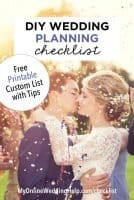 DIY wedding planning checklist. Free printable custom list with tips.