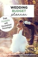Wedding Budget Planner. Free printable with personalized percentages.