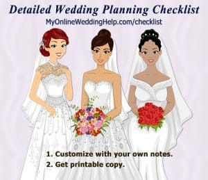 DIY wedding planning checklist. Personalize it to your own wedding by customizing notes and your vendor information. You can use the MyOnlineWeddingHelp.com website on the fly or get a permanent copy to use while planning. #wedding #weddingchecklist #weddingplanning #budgetwedding #weddingcheatsheet #MyOnlineWeddingHelp